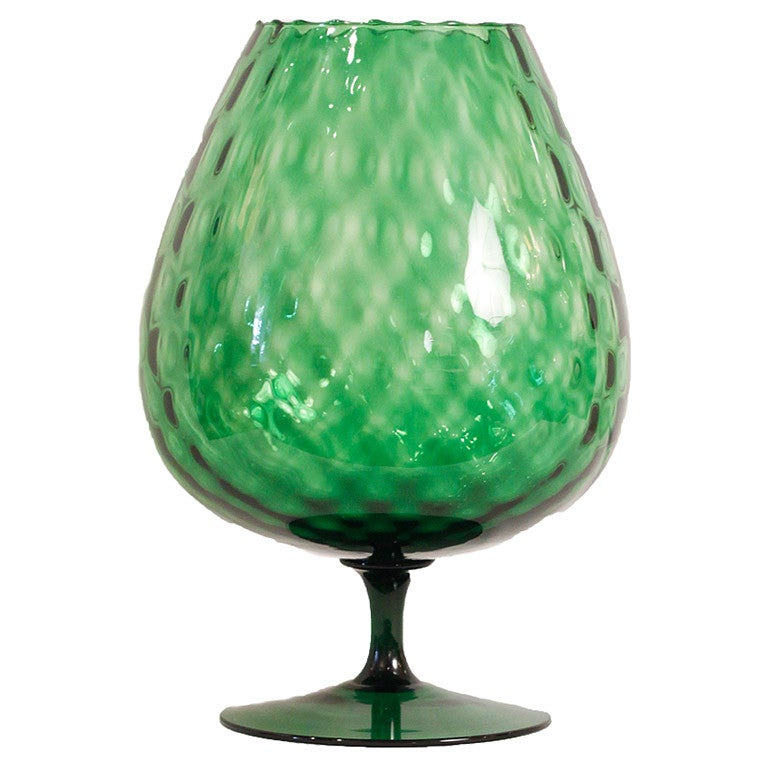 Large Italian Hand Blown Green Glass Snifter Vase At 1stdibs