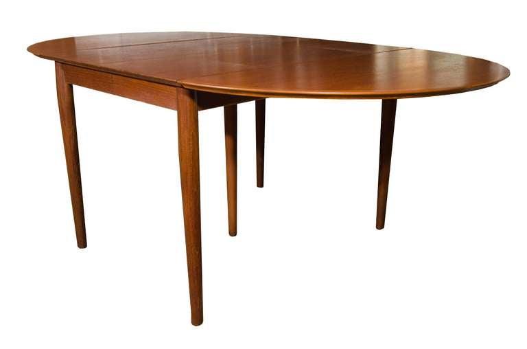 Danish Modern Teak Drop Leaf Extension Dining Table For