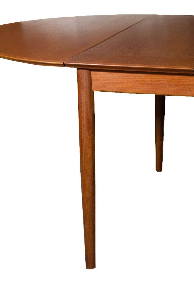 Danish modern teak drop leaf extension dining table at 1stdibs for Drop leaf extension table