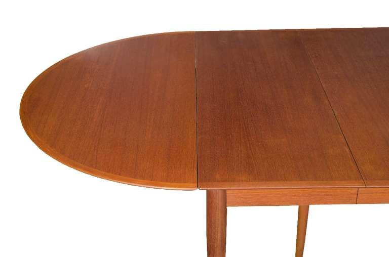 danish modern teak drop leaf extension dining table for