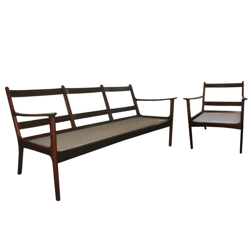 Ole Wanscher Rosewood Sofa and Chair Set 7