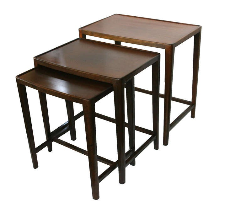mid century european walnut nesting tables at 1stdibs
