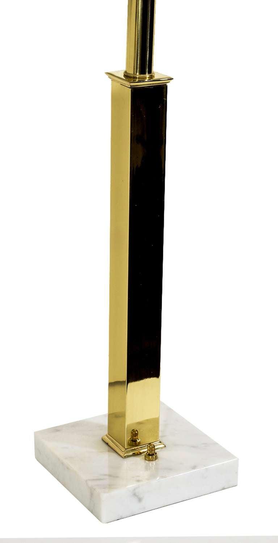 modernist brass stem on marble base table lamps at 1stdibs. Black Bedroom Furniture Sets. Home Design Ideas