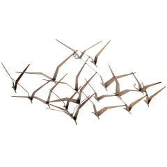 Curtis Jere Flock of Birds Bronze Wall Sculpture