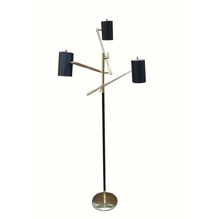 195039s brass 3 arm italian floor lamp at 1stdibs for 1950 s brass floor lamp