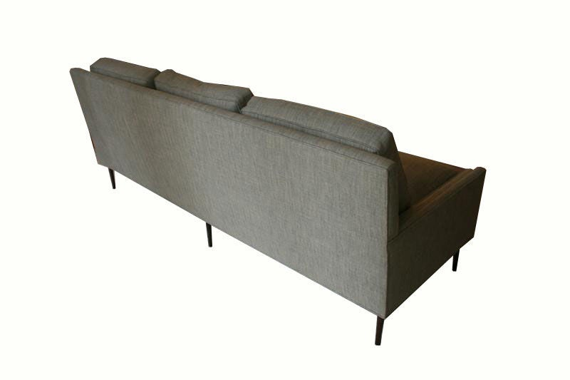 Brass Allen Stepped Arm Three-Seat Sofa For Sale