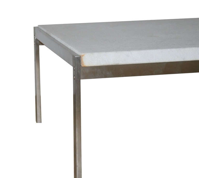 Poul Kjaerholm PK 63 White FlintRolled Marble Coffee Table at 1stdibs