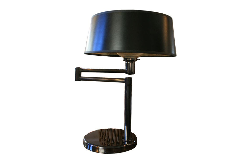 nessen black nickel swing arm table lamps at 1stdibs. Black Bedroom Furniture Sets. Home Design Ideas