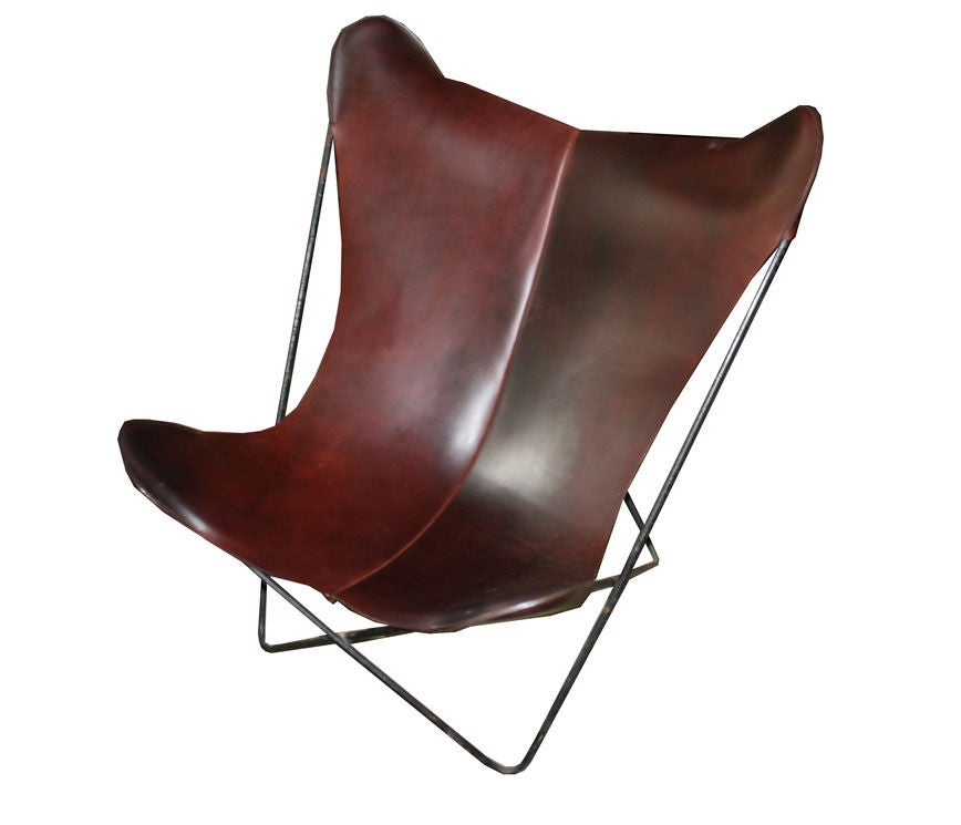 1950 39 S Charles Pinnell Leather Sling Butterfly Chair At