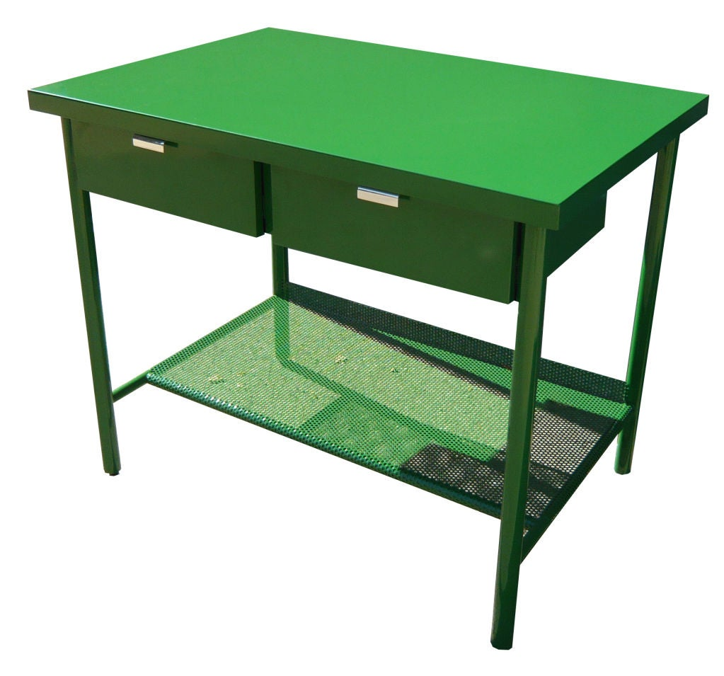 Metal Covered Tables : Powder coated steel work table at stdibs