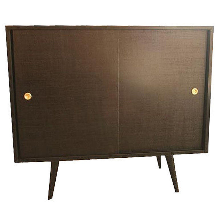Paul McCobb Grass Cloth Sliding Door Console For Sale