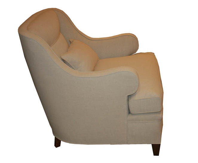 S rolled arm club chair and ottoman at stdibs