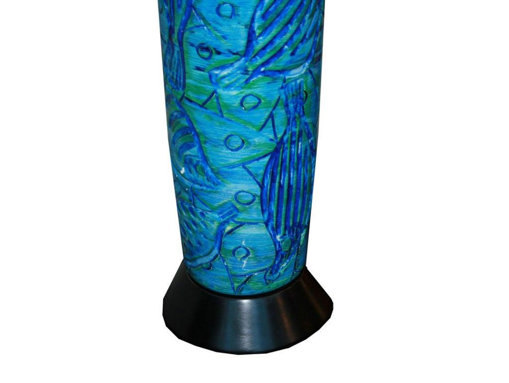 1960s Italian Ceramic Fish Motif Table Lamp 3
