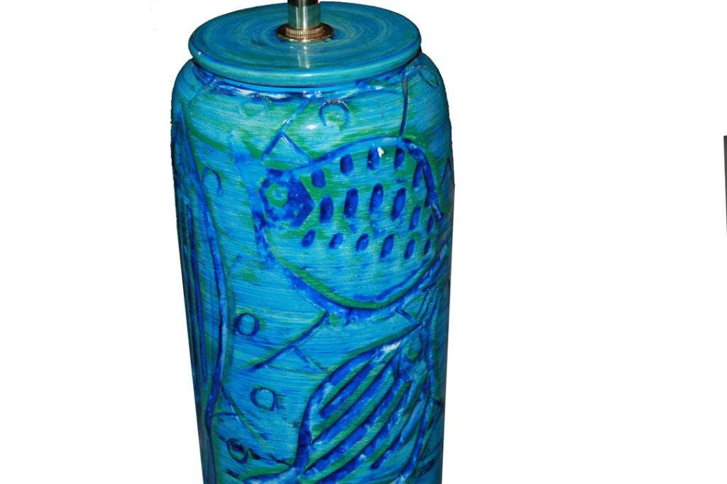 1960s Italian Ceramic Fish Motif Table Lamp 4
