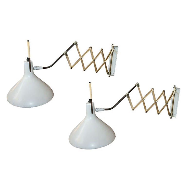 Gerald Thurston for Lightolier Scissor Wall Lamps at 1stdibs