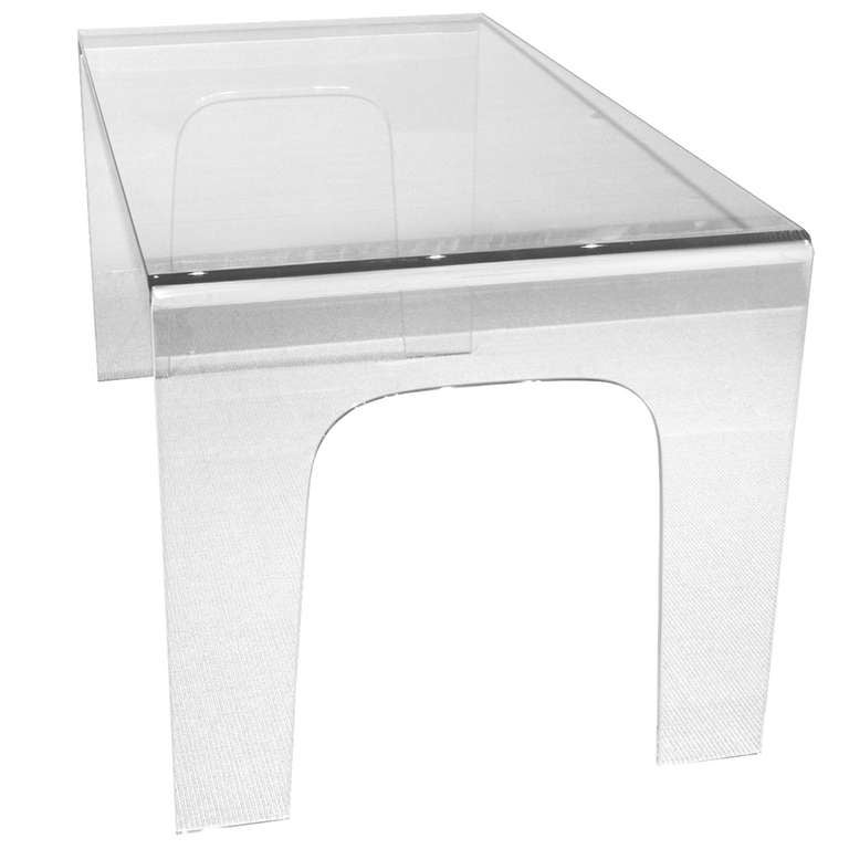 1970 s Italian Glass Waterfall Table Desk at 1stdibs