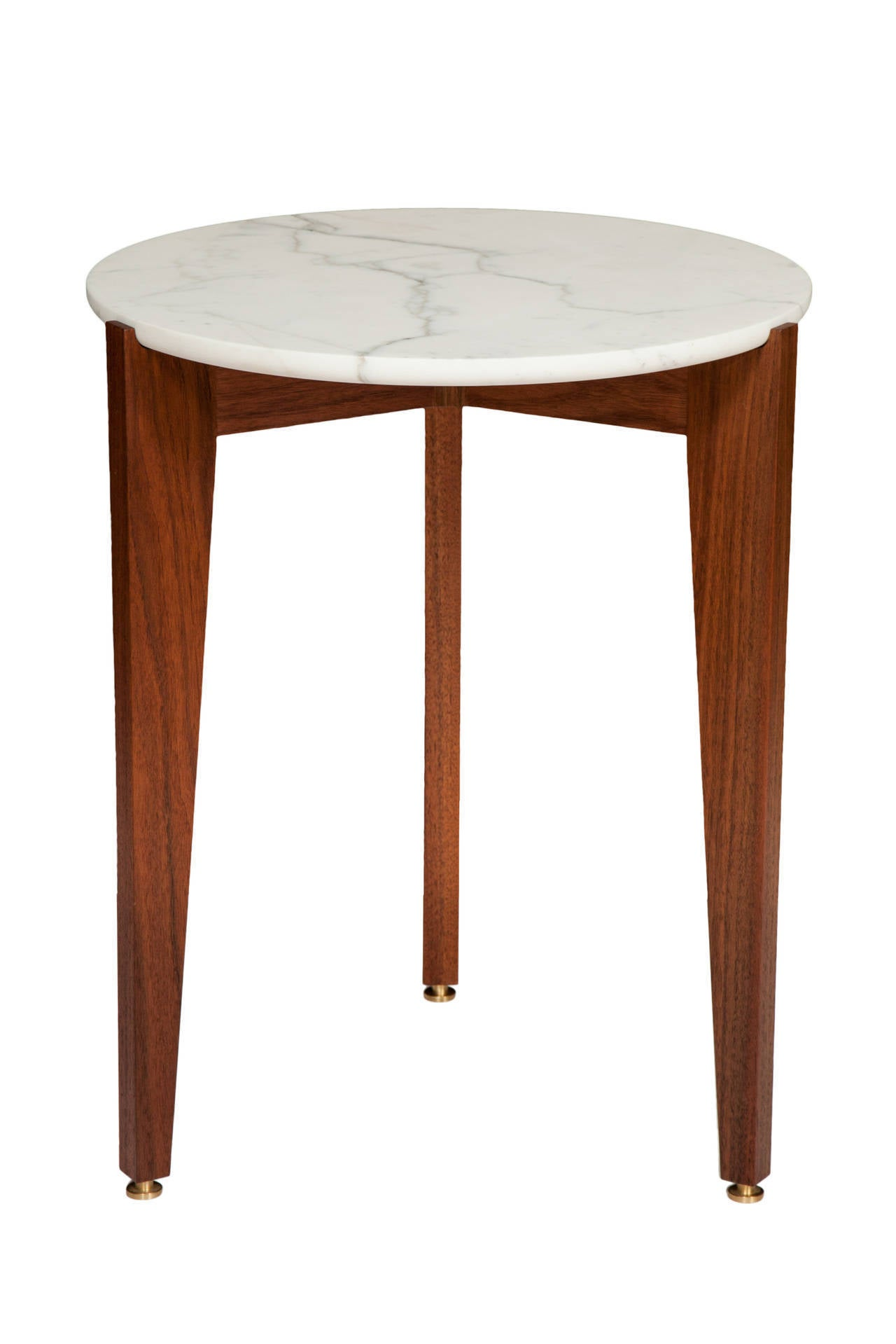 American black walnut tripod side table with Italian calcutta marble top. Solid brass adjustable foot levellers. Designed by Paul Mignogna for Stillmade.  Custom orders have a lead time of 10-12 weeks FOB NYC. Lead time contingent upon selection