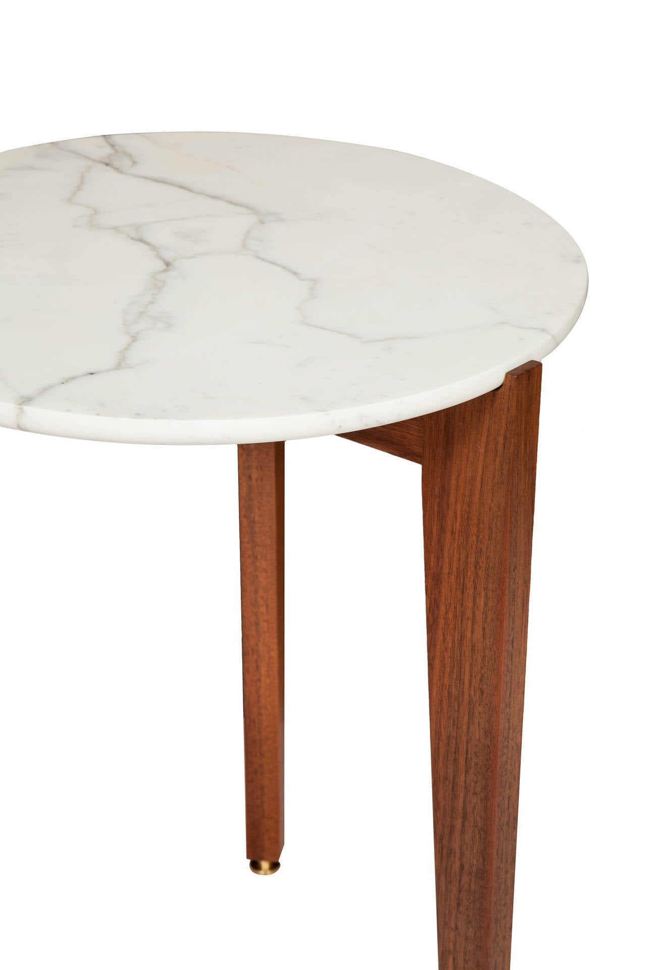 American Stillmade Walnut Tripod Side Table with Calcutta Marble Top For Sale