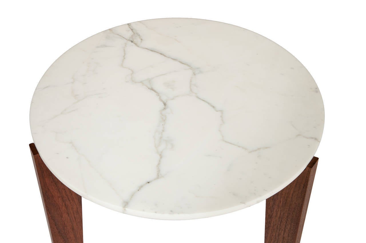 Oiled Stillmade Walnut Tripod Side Table with Calcutta Marble Top For Sale