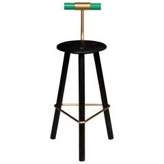 Erickson Aesthetics  Charred Ash Tripod Stool with Backrest