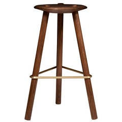 Erickson Aesthetics  Solid Walnut Tripod Stool