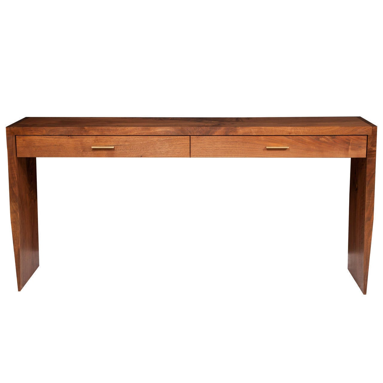 Stillmade Solid Walnut Two-Drawer Tapered Console Table For Sale