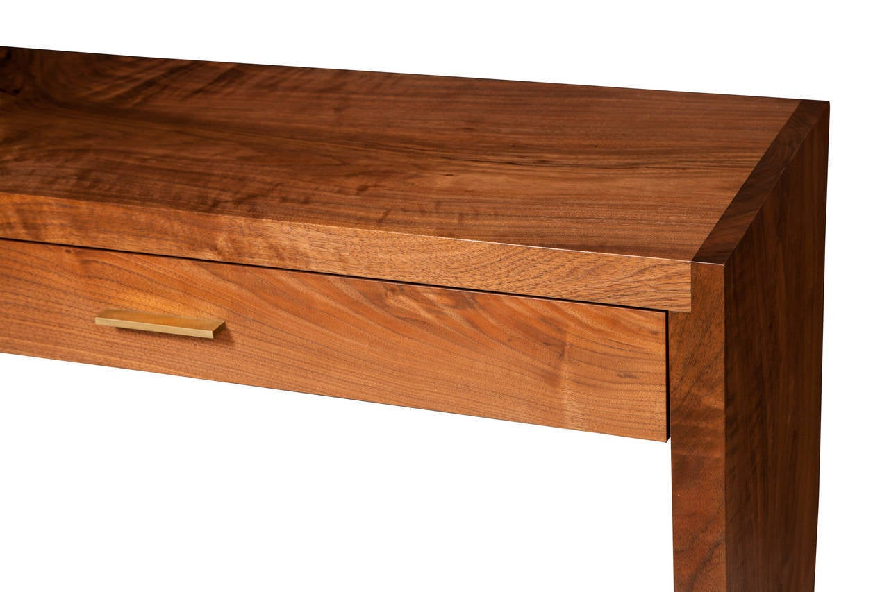Solid American black walnut tapered sides console table with solid brass drawer pulls.