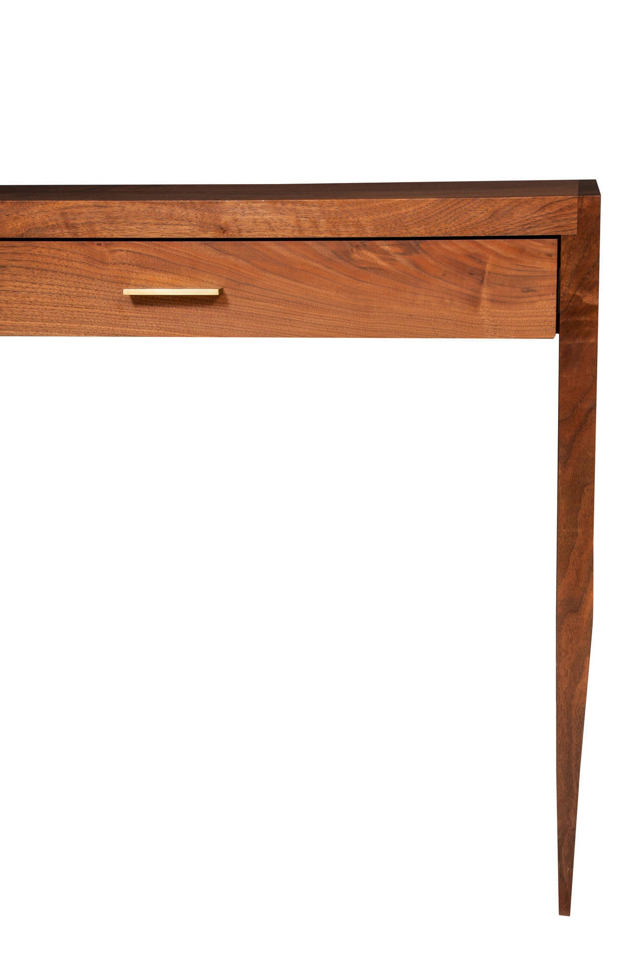 American Stillmade Solid Walnut Two-Drawer Tapered Console Table For Sale