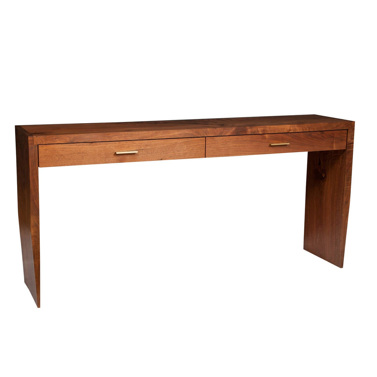 Oiled Stillmade Solid Walnut Two-Drawer Tapered Console Table For Sale