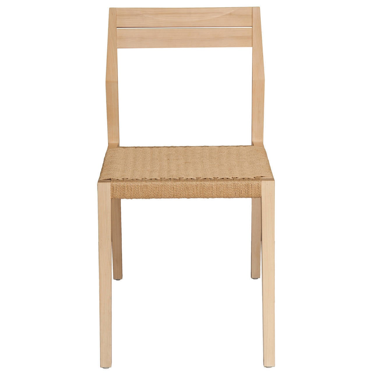 Stillmade Solid White Oak Dining Chair With Paper Cord Seat For - Contemporary wooden dining chairs