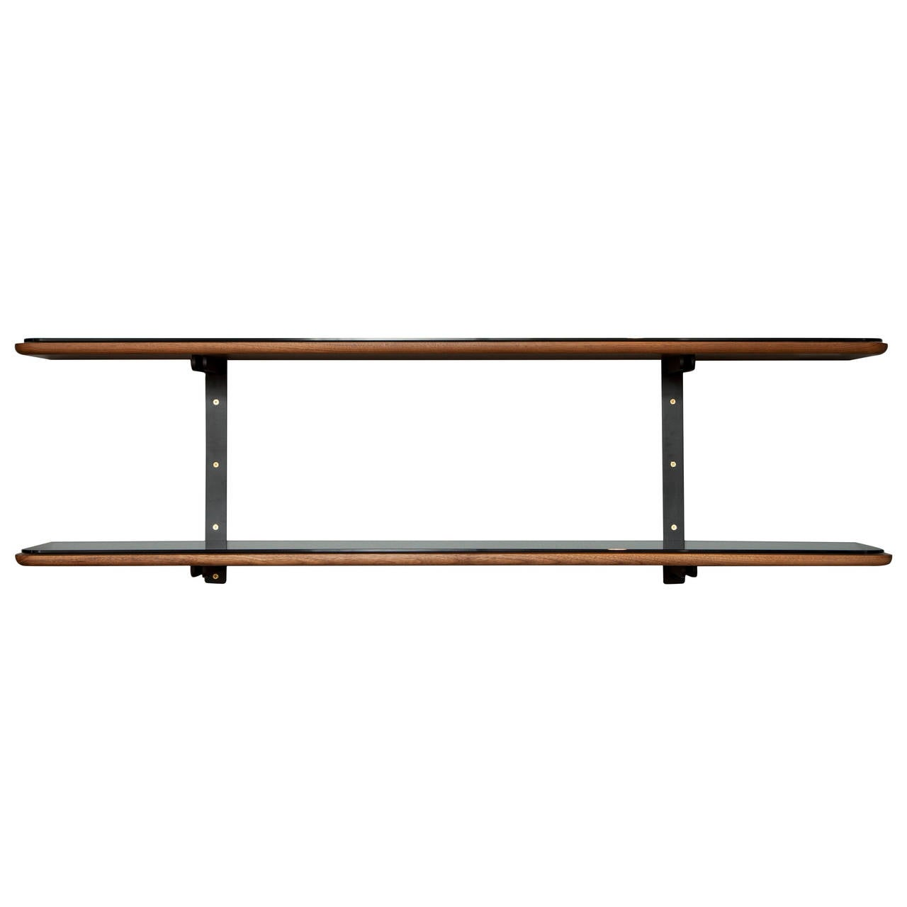 Stillmade Black Walnut and Steel Wall Shelf System