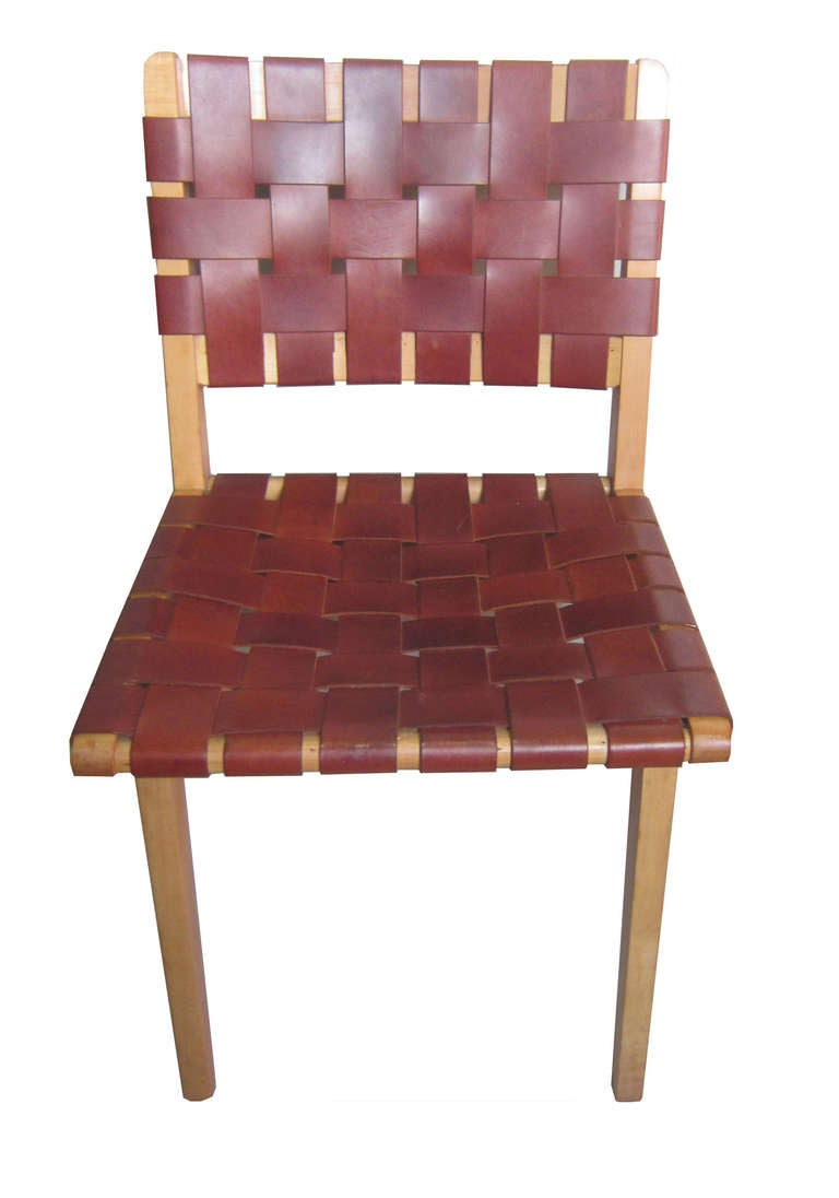 S jens risom for knoll leather webbed dining chairs