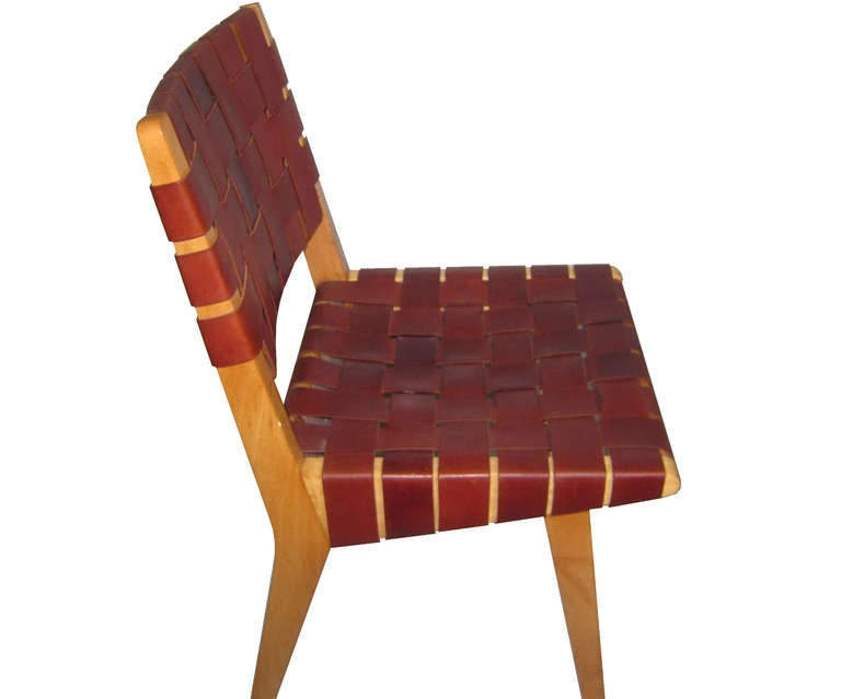 1950 S Jens Risom For Knoll Leather Webbed Dining Chairs
