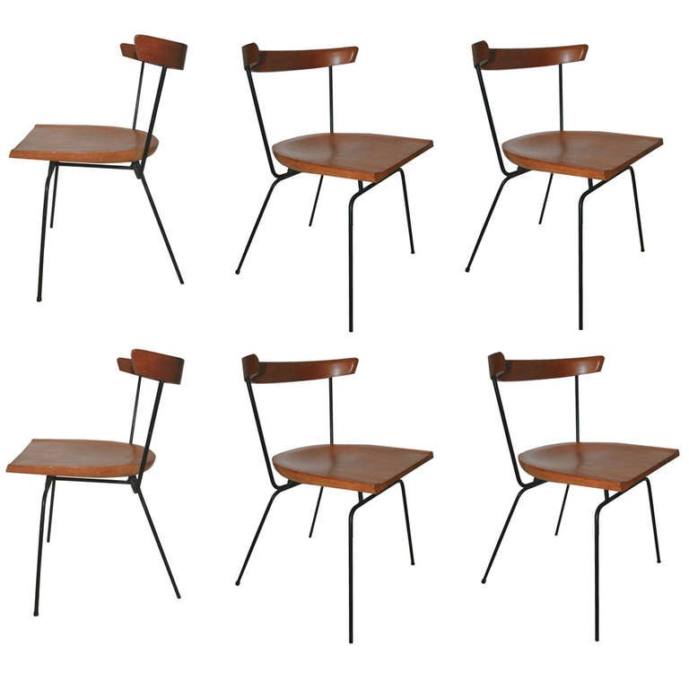 Paul McCobb 1535 Iron and Maple Dining Chairs at 1stdibs