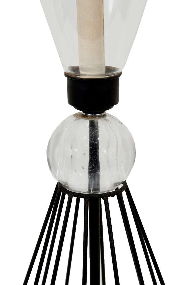 mid century cage hurricane table lamps at 1stdibs. Black Bedroom Furniture Sets. Home Design Ideas