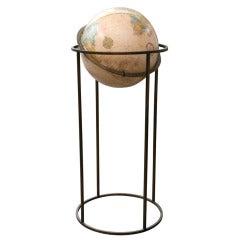 1960's Brass Floor Terrestrial Globe
