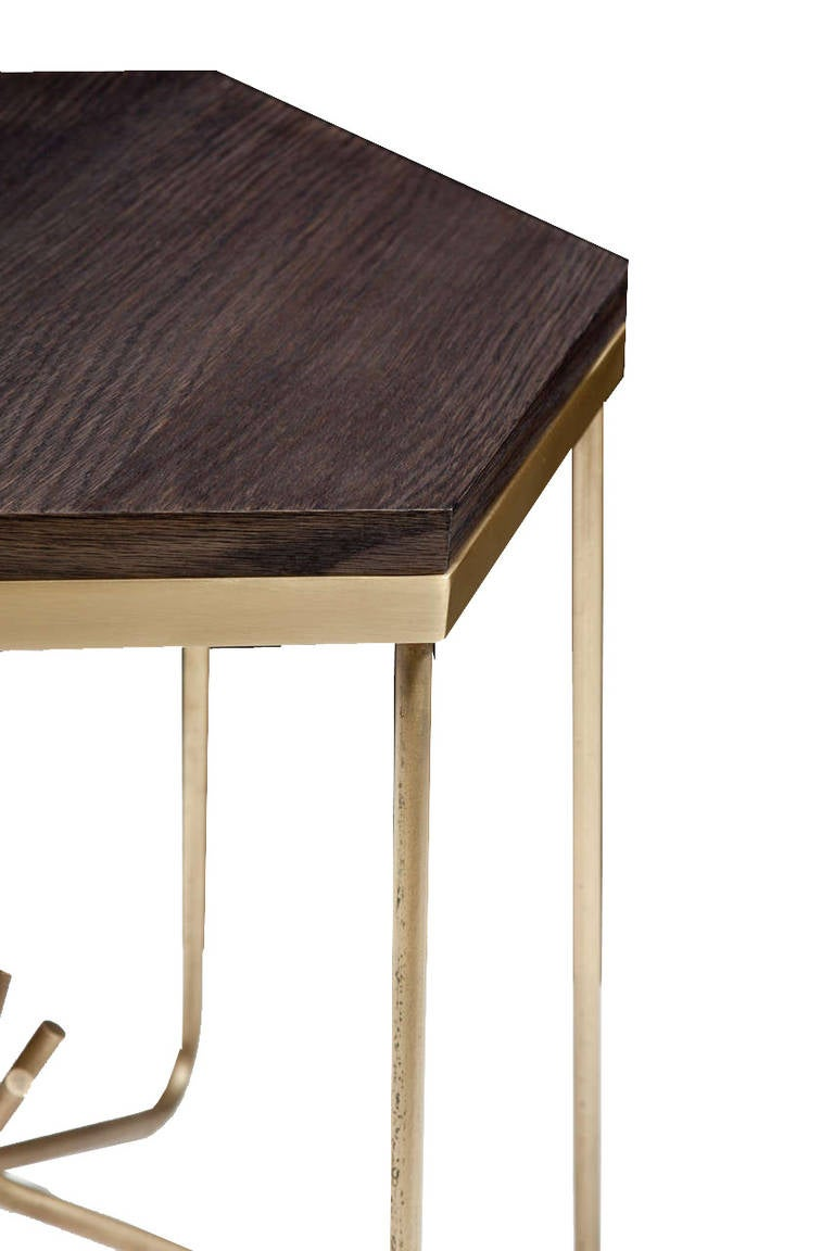 Richer side table with oak hexagon top for sale at 1stdibs for 1 oak nyc table prices