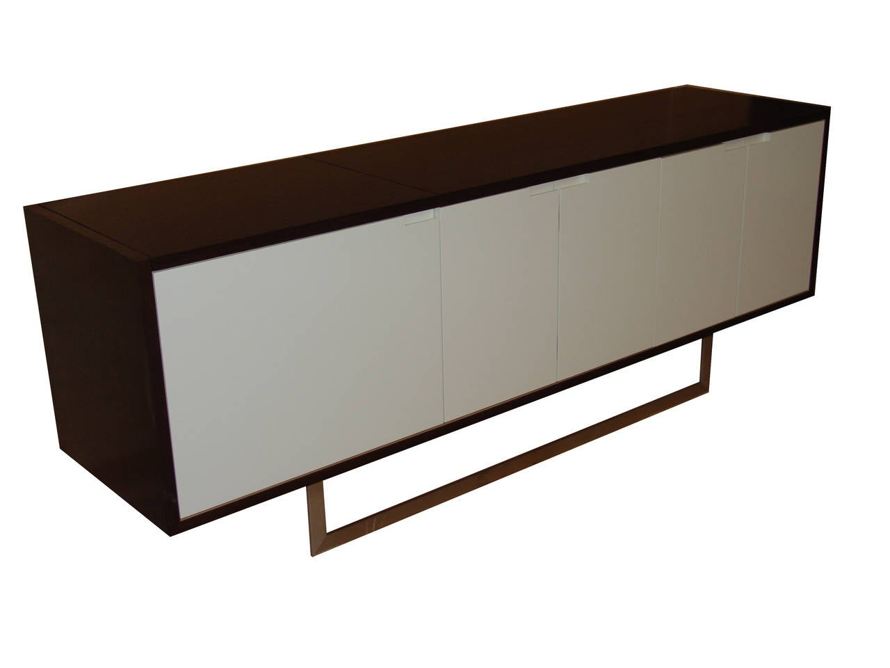 Custom lacquered doors with wenge veneer body on stainless base. Hinged flip-top allows for turntable use or bar service. Available in many finishes and sizes. Not in showroom. Contact dealer for information.