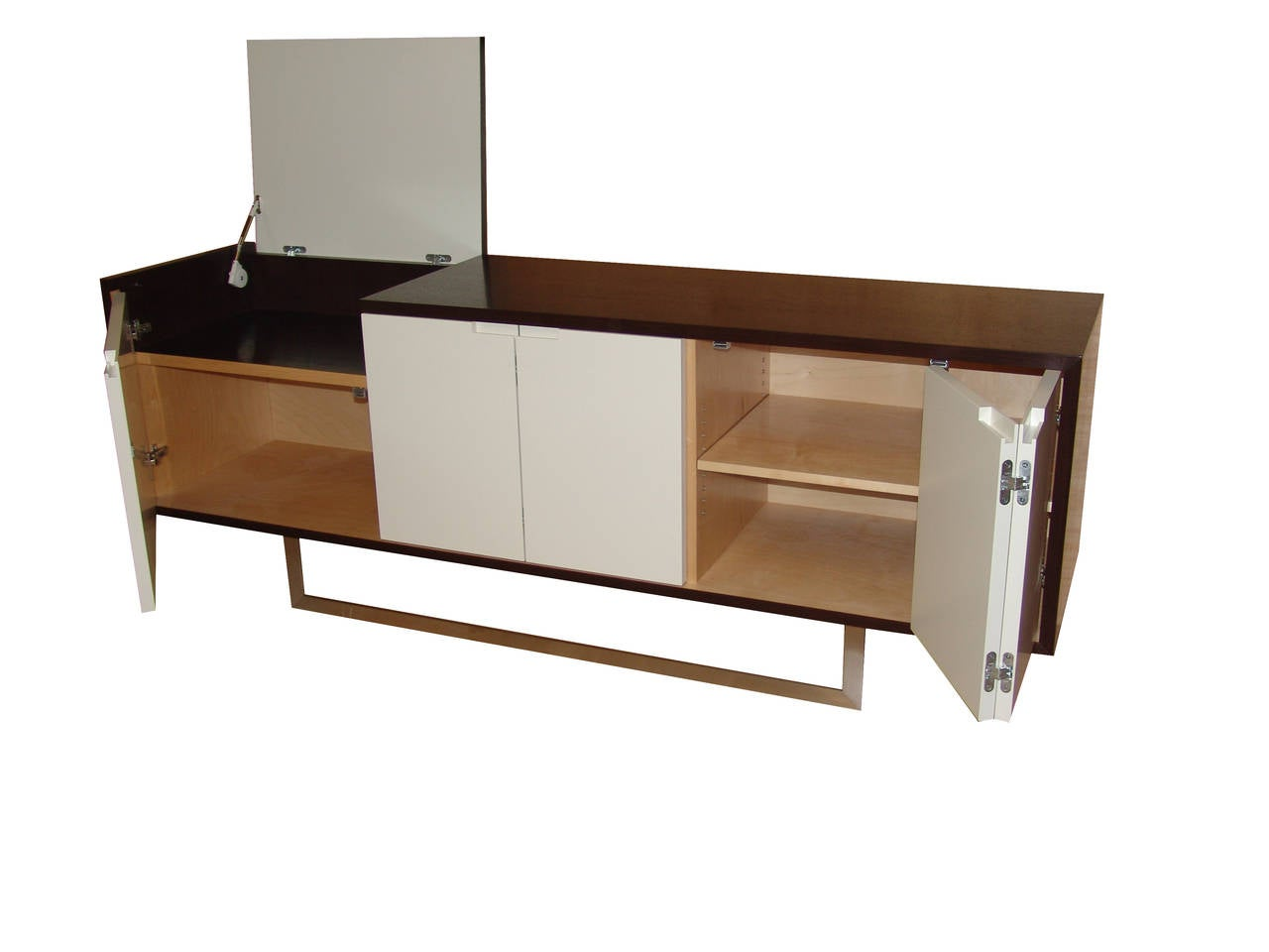 Lacquered Nathan Flip-Top Media Console For Sale