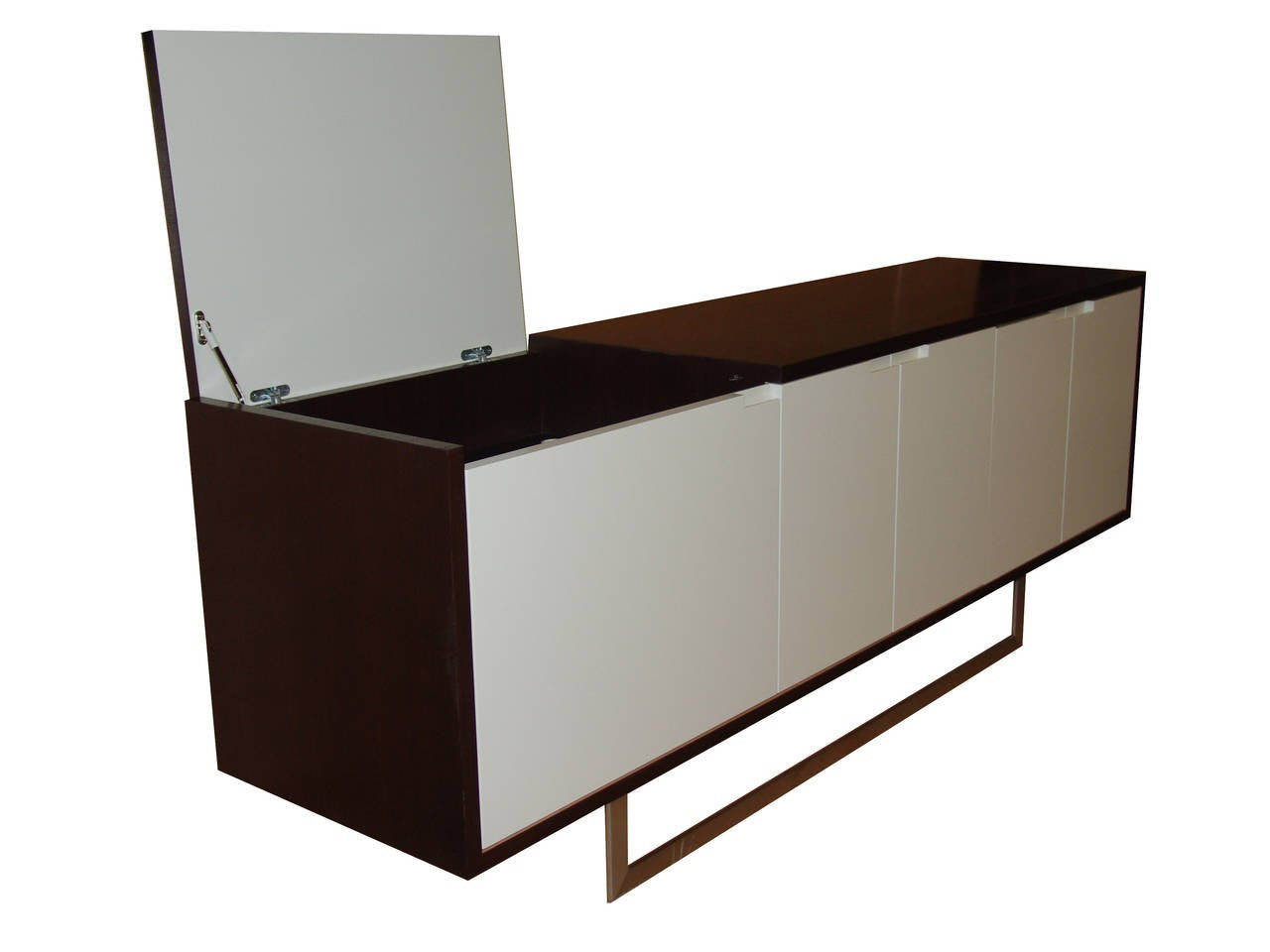 Stainless Steel Nathan Flip-Top Media Console For Sale