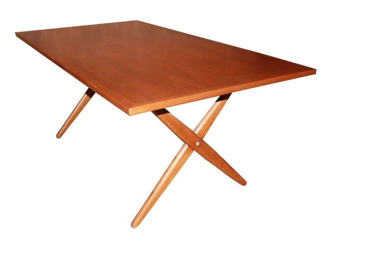 Hans Wegner X-Base Trestle Teak Dining Table 6