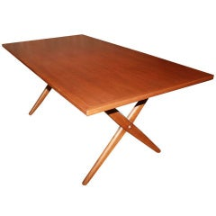 Hans Wegner X-Base Trestle Teak Dining Table
