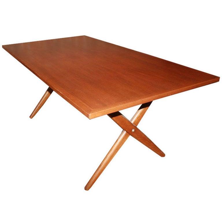 Hans Wegner XBase Trestle Teak Dining Table For Sale at 1stdibs