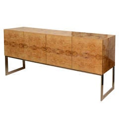 Milo Baughman Burled Wood and Chrome over Steel Cabinet/Buffet