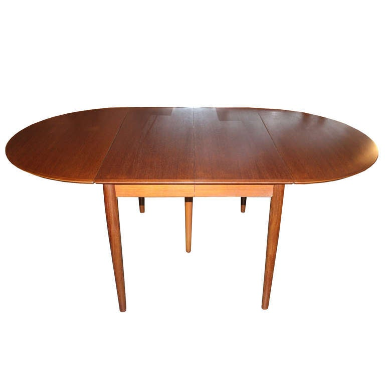 danish modern teak drop leaf extension dining table at 1stdibs