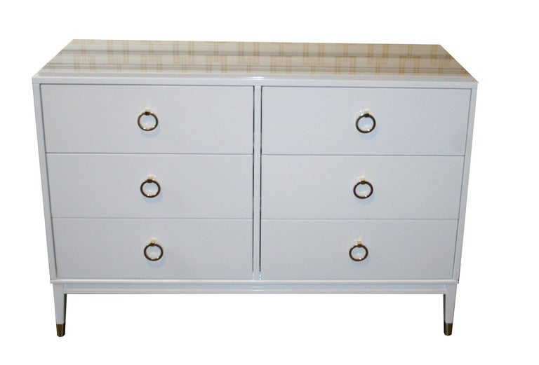 Mid-Century Modern Spencer Lacquered Marble Top Dresser For Sale
