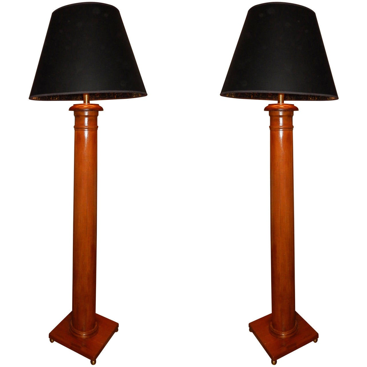 Pair Of Tall Column Floor Lamps At 1stdibs