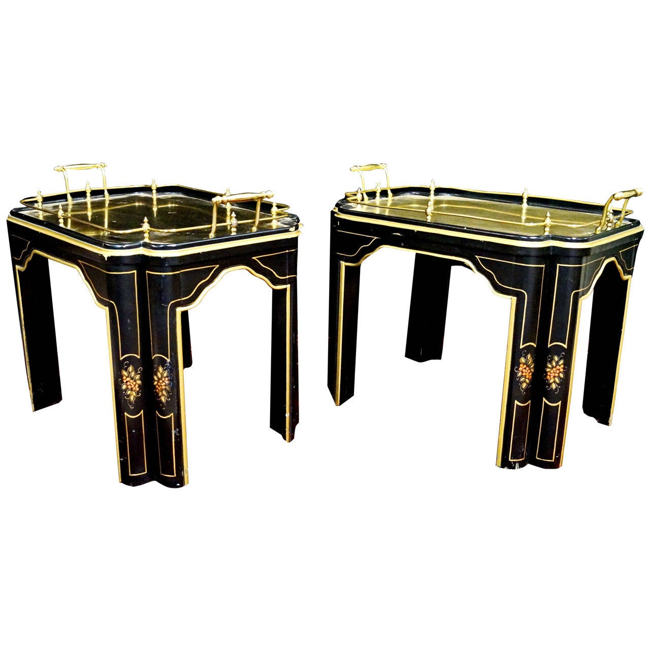 Pair Of Unusual Brass Decorated Coffee Tables Or End Tables At 1stdibs