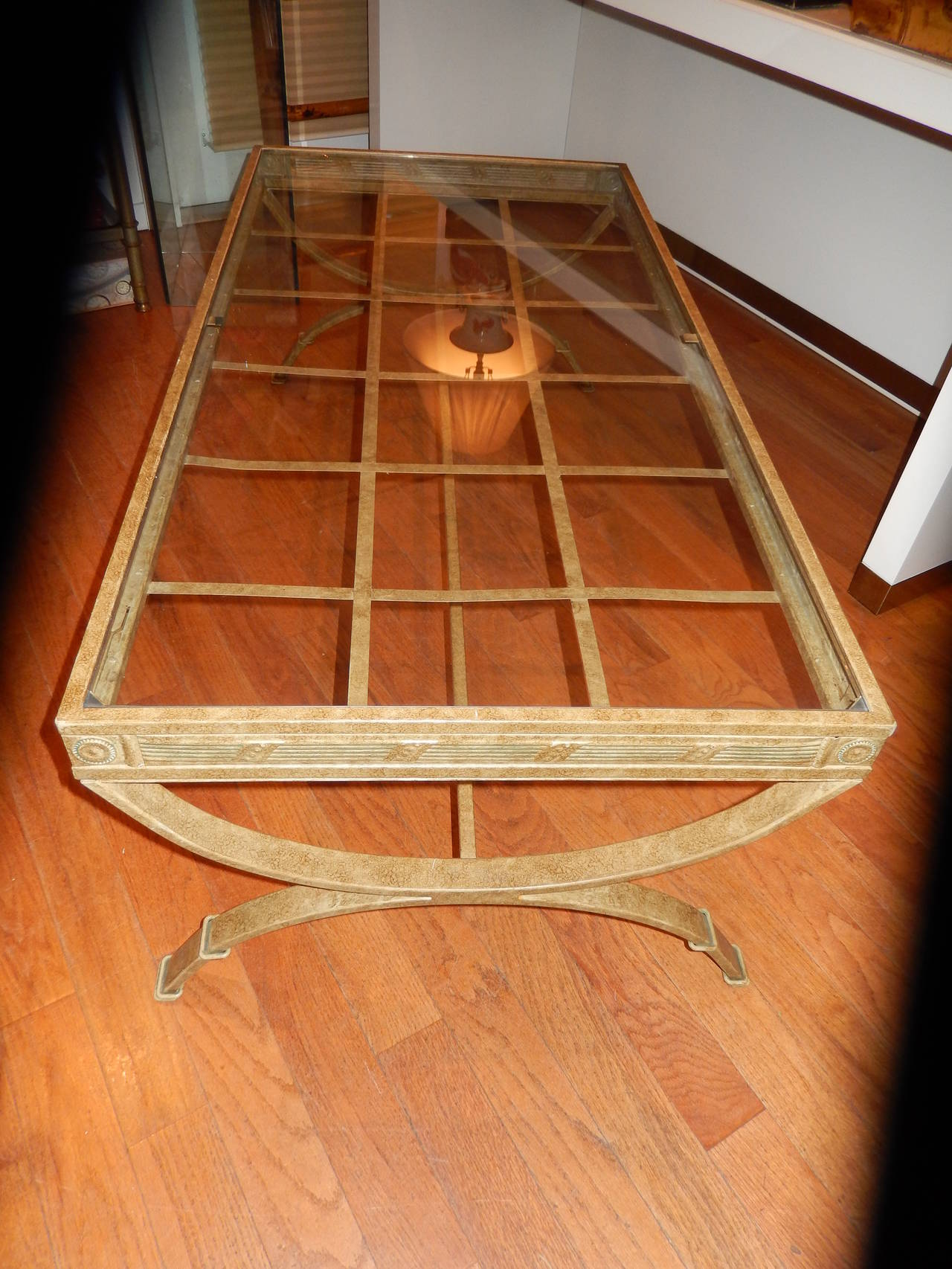 Art Nouveau Midcentury Metal and Glass Verdigris Coffee Table For Sale