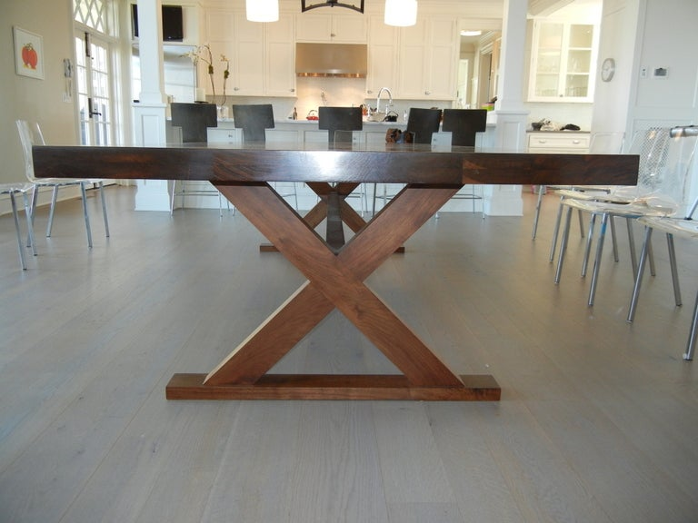a studio crafted walnut woods dining room table desk at